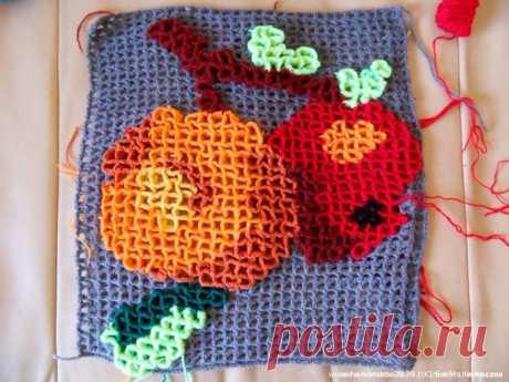 Мастер-Класс Объёмное вязание: подушка «Яблоки»