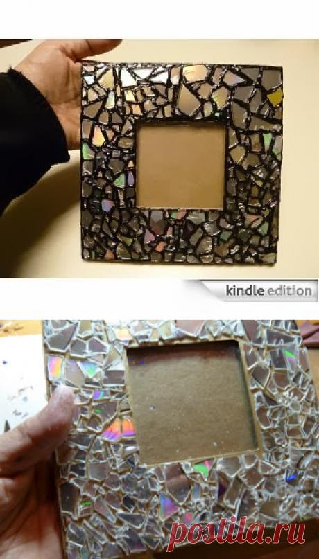 Сделать это легко промыслы: Восстановленный CD Мозаика Photo Frame