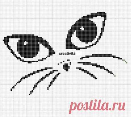 Схемы кошечек По этим схемам можно вязать в филейной технике, вышивать, вязать в технике интарсия. #crochet #вышивка_крестом #филейное_вязание #интарсия #жаккард #вязание_крючком #вязание_спицами #схемы_животных