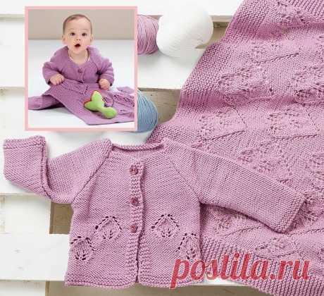 Сиреневый жакет и покрывало - Вязание спицами для детей
