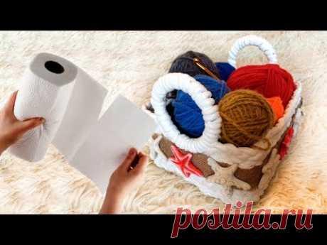 Корзинка из бумажных полотенец своими руками - YouTube
