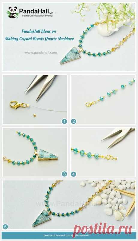 Кристалл бисер кварцевое ожерелье Ожерелье очень привлекательным, для этого он сделан яркие и блестящие хрустальные бусины, а также треугольник кварцевый кулон.