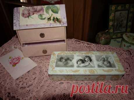 Декупаж домика для письменных принадлежностей и деревянной коробки