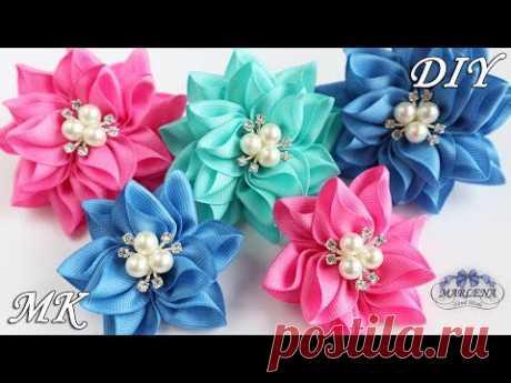 Цветы из репсовой ленты. Резиночки для волос. Канзаши МК/DIY - YouTube