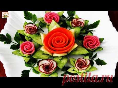 Элегантный гарнир из моркови и редиса Розовые цветы с рисунками восковой тыквы, огурца и кинзы!
