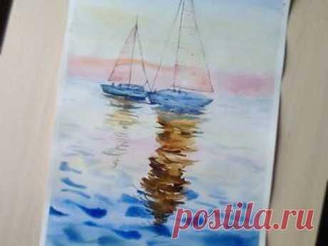 Видео мастер-класс: рисуем акварелью картину «Лодки на закате» - Ярмарка Мастеров - ручная работа, handmade