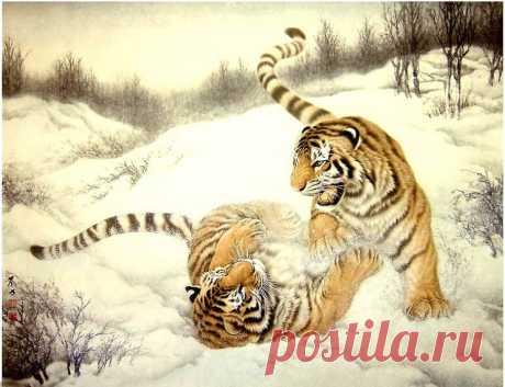 китайская живопись, тигры