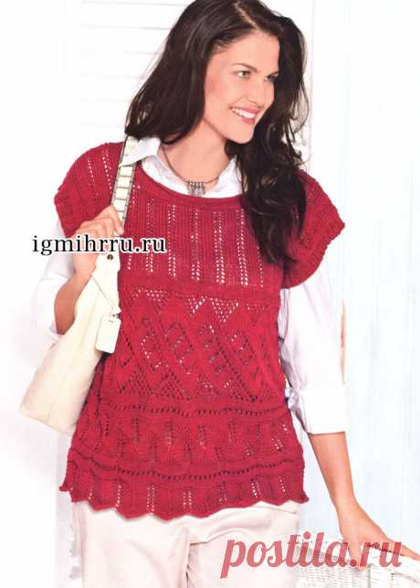 For full ladies. Figured dark red pullover. Knitting by spokes
