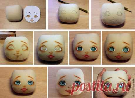 Этапы оформления кукольного личика - прорисовываем глазки и клеим реснички