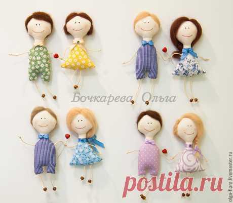 Текстильные магниты на холодильник: шьем парочку кукол-неразлучников