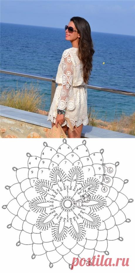 Белое платье из мотивов вязаное крючком. Нежное летнее платье вязаное крючком | Домоводство для всей семьи.
