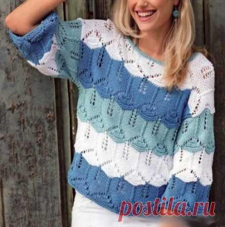 Ажурный пуловер из цветных широких полос. Описание и схемы