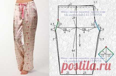 Пижамные брюки с ластовицей. #простыевыкройки #простыевещи #шитье #пижама #брюки #выкройка