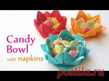 DIY конфетная чаша с бумажными салфетками