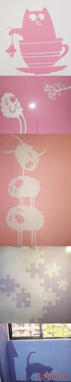 Идея делать бумажные шаблоны для переноса рисунка на стену с помощью программы CorelDraw. (Мастер-класс по клику на картинку).