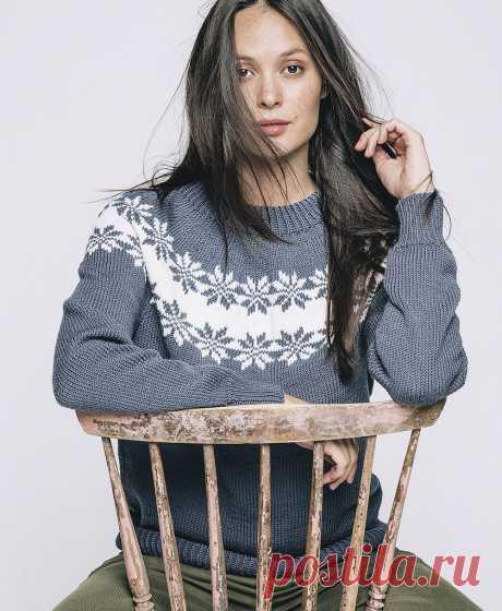 Пуловер с узором «Роза Сельбу» - схема вязания спицами. Вяжем Джемперы на Verena.ru
