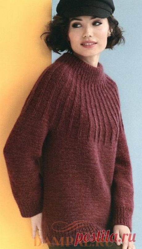 Классический свитер с круглой кокеткой «Gamine». Спицами. / DAMские PALьчики. ru