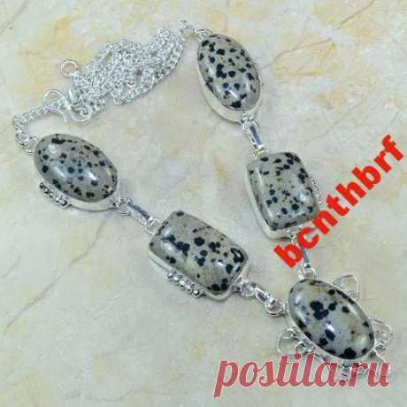 Ожерелье натурал. далматиновая ЯШМА серебро 925 пр (6287495420) - Aukro.ua – больше чем аукцион