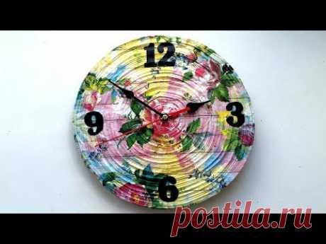 Часы своими руками из газетных трубочек - YouTube