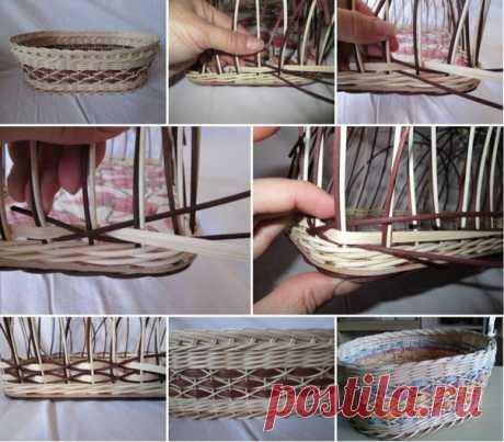 """Плетение узора """"крестики"""" Автор МК неизвестен #фото_мини_мк@community_the_basket"""