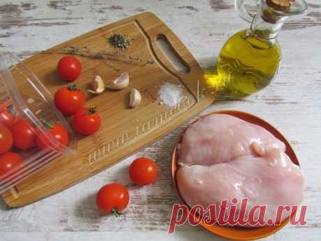 Запеченная куриная грудка с чесноком и помидорами — рецепт с фото пошагово
