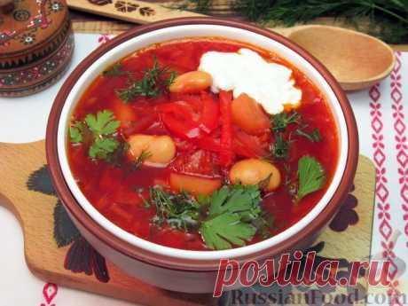 Рецепт: Украинский борщ с фасолью и свиными рёбрышками