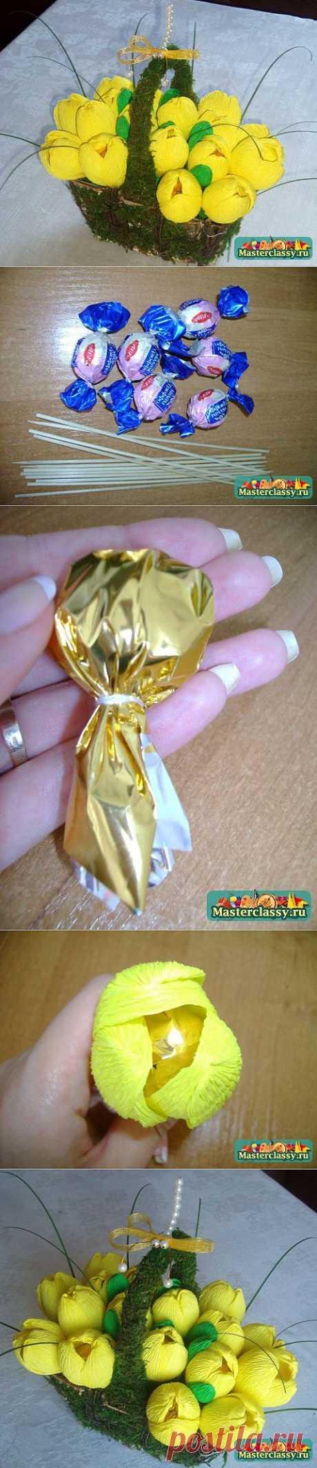 Букет из конфет. Желтые крокусы в корзиночке. МК..