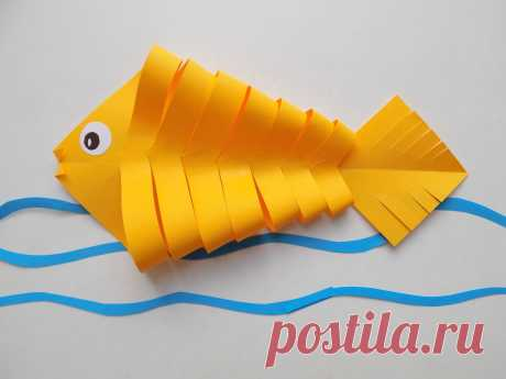 Как сделать рыбку из бумаги | Поделки с детьми | Яндекс Дзен