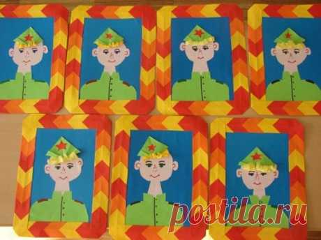 Аппликация на 23 февраля для детей 3-4 лет в детском саду старшей и средней группы — фото пошагово и видео — Аппликация папе на 23 февраля - allWomens