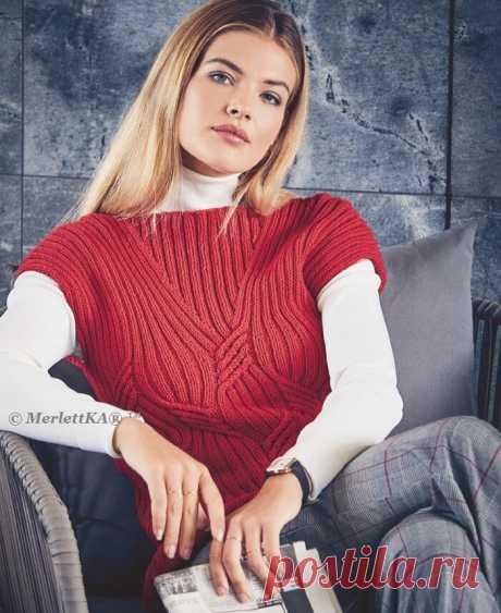 Вязание спицами - Пуловер с короткими рукавами