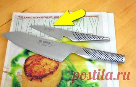 Японец показал весьма неожиданный способ, как быстро заточить ножи без специального камня
