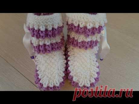 Носки-ботинки для девочек от 4 до 6 дет   вязание  спицами