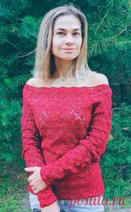 Как связать Пуловер с открытыми плечами крючком