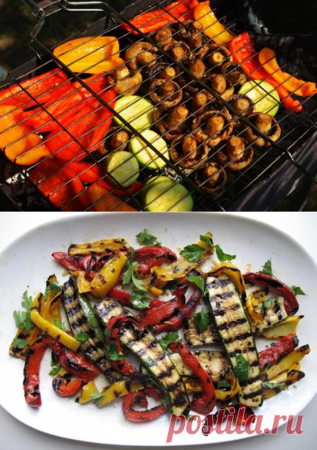 Шашлык из овощей на решетке / Простые рецепты