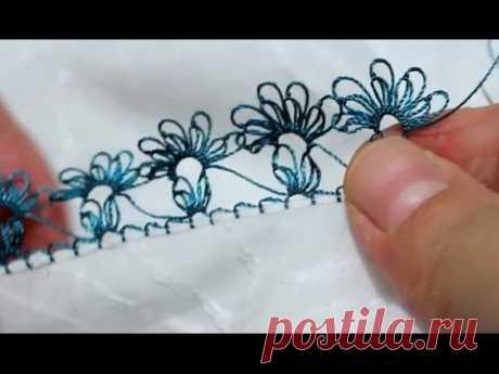 Турецкое игольное кружево ойяси (Oyasi). Урок № 21: голубой цветок