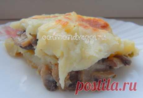 Картофельная запеканка с грибами и сыром в духовке