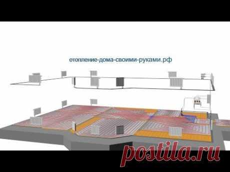 3D схема отопления теплый пол + радиаторы