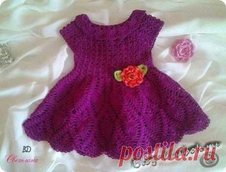 Нарядное фиолетовое платье для малышки....