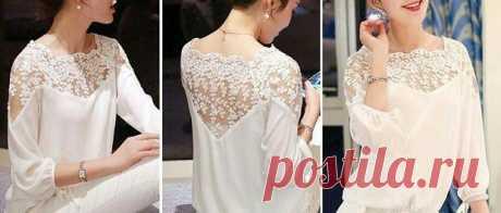 Выкройка белой блузки с кружевом Модная одежда и дизайн интерьера своими руками