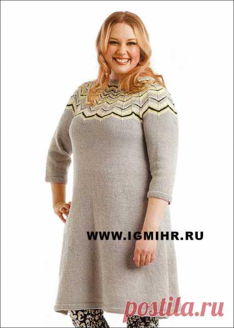 Вязание спицами. Жаккард. Платье с круглой кокеткой.
