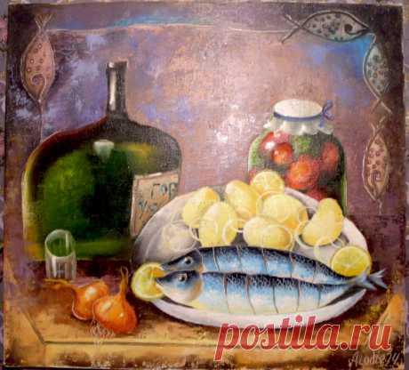 "Натюрморт  "" по русски ""  Холст, масло. Автор Yulija Ionova ( Alladie ) ( JU-Lio toys &....)"