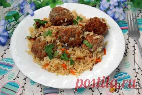 Ароматный рис с тефтелями Вкусное и сытное блюдо из риса и мясного фарша для домашнего ужина или обеда. Готовится очень просто, а результат отличный. Попробуйте!