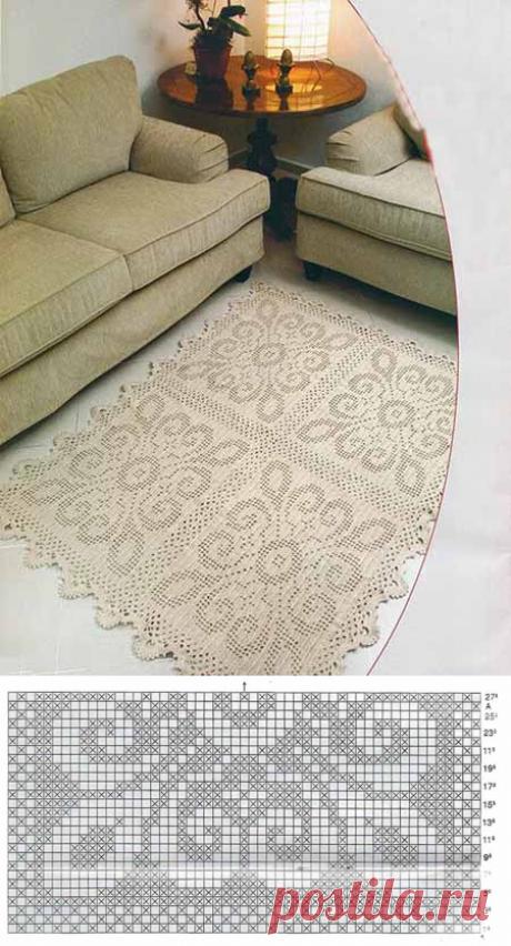Схемы красивых квадратных ковриков крючком | Уют и тепло моего дома