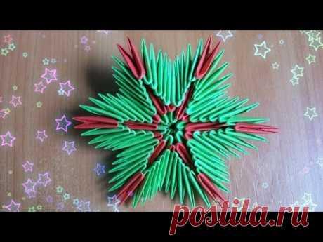 Cada uno Hará Este Copo de nieve Volumétrico del Papel por las Manos. De Año Nuevo Modular el Origami
