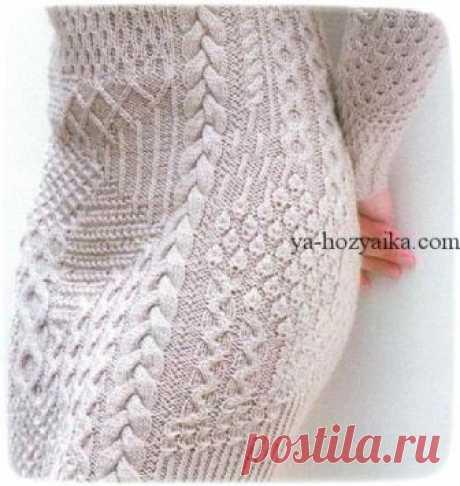 Платье в стиле пэчворк спицами. Вязаное летнее платье спицами с описанием