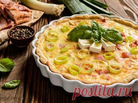 Открытый пирог «Киш лорен» с курицей и грибами - рецепт.