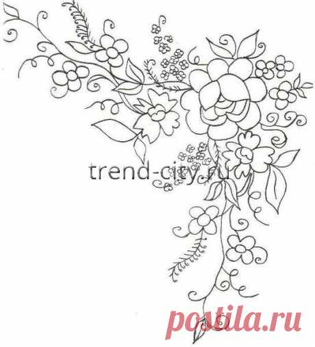 Схема вышивки гладью - Букет цветов - уголок для вышивки - вышивание на trend-city.ru