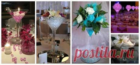 Centros de mesa con copas de martini