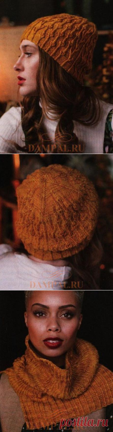 Вязаные шапка и шарф «Золотарник» | DAMские PALьчики. ru