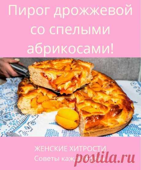 Пирог дрожжевой со спелыми абрикосами!